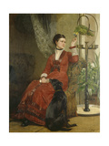 Lady with Parrot and Dog  C 1880