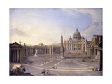 A View of St Peter's  Rome with Bernini's Colonnade and a Procession in Carriages