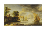 Coastal Landscape with Farmhouse  Ferry House and Sailing Boats  before 1640