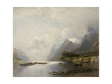 Landscape with Fjord  Steam Boats and Sailing Ships
