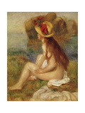Seated Woman with Straw Hat