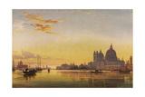 Sunset on the Lagoon of Venice  Church of Isola Di San Giorgio in Alga in the Distance