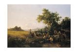 Italienische Landschaft Mit Ochsenwagen Waehrend Der Kornernte