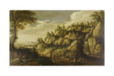 Mountainous Landscape with Town and Resting Couple  Ca 1610
