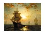 Segelschiffe Bei Sonnenuntergang