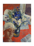 Head of a Woman and a Vase of Flowers  1921