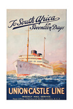 To South Africa in Seventeen Days'  an Advertising Poster for Union Castle Line