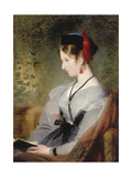 Portrait of Elizabeth Wells (Later Lady Dyke) Wearing a Grey Dress and Holding a Book