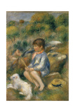 Young Boy with His Dog by a Brook  1890