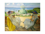 Two Young Women on a Terrace by the Sea  1922