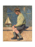 Boy with Sailing Boat at a Basin  Jardin Du Luxembourg  1932-35