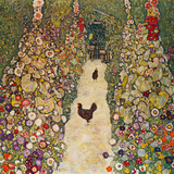 Garden Path with Chickens, 1916, Burned at Schloss Immendorf in 1945 Reproduction d'art par Gustav Klimt