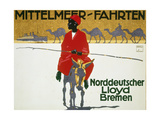 German Poster Advertising Cruises with Lloyd'S