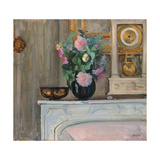 Vase of Flowers and a Clock on a Mantlepiece  C 1920
