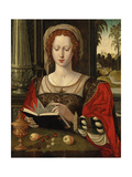 Saint Mary Magdalene Reading  at a Table with Fruit and a Golden Tazza