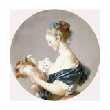 Girl Playing with a Dog and a Cat (Said to Be Marie-Madeline Colombe)