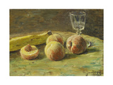 Still Life with Peaches and Wine Glass  Ca  1890