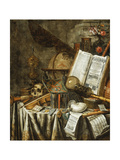 Vanitas Still Life with Musical Instruments  Books  and Other Things  1663