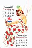 Pepsi - Vintage Pepsi Girl; 1950 Calendar: November and December