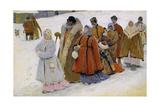 Russische Familie Beim Kirchgang