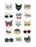 Cats with Glasses Reproduction d'art par Hanna Melin