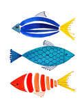 Summer Fish Trio Reproduction d'art par Margaret Berg