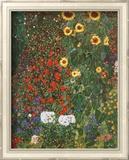 Jardin aux tournesols, vers 1912 Art texturé encadré par Gustav Klimt