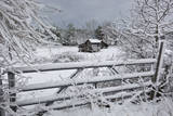 Snow Covered Gate and Old Farm