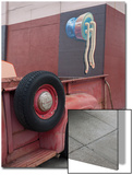 Red Truck Tires with Wall Painting (the Mission  San Francisco  CA)