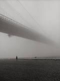 Lyn under Brooklyn Bridge in Fog