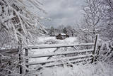 Snow Covered Gate and Old Farm Wide View
