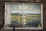 Painting in Window on Macarthur Blvd  Oakland  CA (Seashore Landscape)