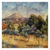 La mpontagne sainte victoire Reproduction d'art par Auguste Renoir