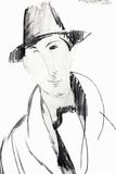 Man with hat drawing