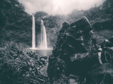 Moody Wailua Falls in Black and White  Kauai Hawaii