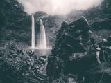 Moody Wailua Falls in Black and White  Kauai Hawaii