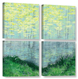 Herb Dickinson's Misty Lake Morning  4 Piece Gallery-Wrapped Canvas Square Set
