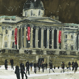 From Trafalgar Square  Facade the National Gallery  London