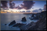 Twilight over the Bedruthan Steps Along the Cornwall Coast  England