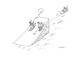 A water skier encounters a long jump downhill snow skier  - New Yorker Cartoon