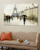 Eiffel in the Rain Marsala Umbrella