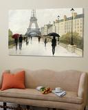 Eiffel in the Rain Marsala Umbrella Toile Murale Géante par Avery Tillmon