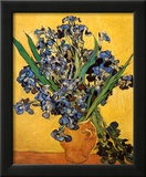 Vase of Irises Against a Yellow Background  c1890