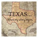 Texas My Story Reproduction d'art par Tina Carlson