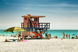 Beach Scene with a Life Guard Station - Miami Beach - Florida