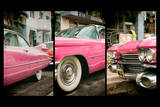 Triptych Collection - Classic Antique Pink Cadillac of Art Deco District - Miami - Florida