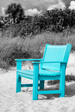 Blue Chair abandoned on the Beach Papier Photo par Philippe Hugonnard