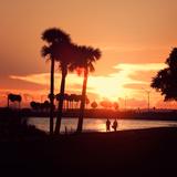 Romantic Walk along the Ocean at Sunset