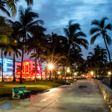 Colorful Street Life - Ocean Drive by Night - Miami