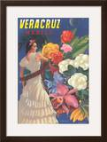 Poster for Veracruz  Mexico  Senorita with Flowers